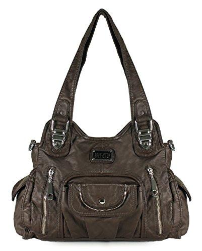 Scarleton Satchel Handbag for Women, Ultra Soft Washed Vegan Leather Crossbody Bag, Shoulder Bag, Tote Purse, Coffee, H163521