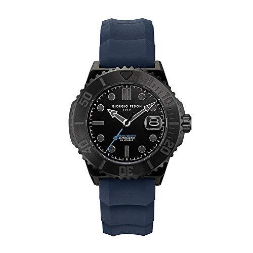 Giorgio Fedon Aqua Rover II - Reloj automático para hombre, PVD negro con correa de goma azul