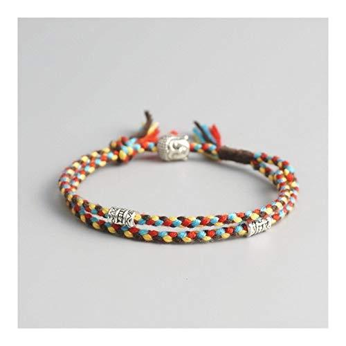 ZAOPP Tibetano Budista Lucky Tejida Amuleto de Tíbet del cordón Pulseras brazaletes for Las Mujeres de los Hombres Hechos a Mano de Cuerda Pulsera for el Tobillo de Buda Accesorios (Metal Color : 1)