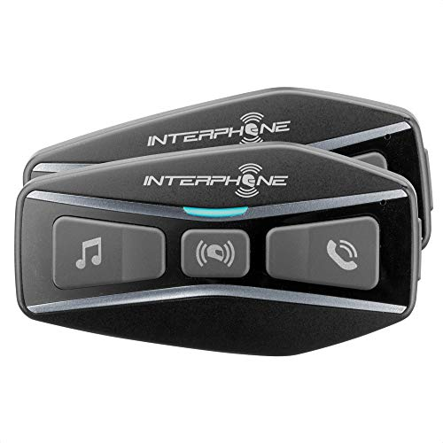 Interphone Cellularline INTERPHOUCOM4 Double Bluetooth 5.0 Intercom for Motorcycle, Group Use at 4, Distance 1 Km, Autonomy Up to 15 Hours, Mp3, GPS, IP67 Waterproof, Universal, Black Interphoucom4tp