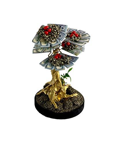 Good Luck Money Tree with 100 Dollar Bills   Feng Shui Money Tree Pyrite Stone, Peony Seeds.
