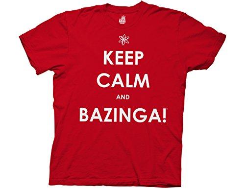 Ripple Junction Big Bang Theory Keep Calm and Bazinga Adult T-Shirt Medium Red