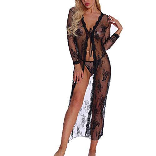 YJNH Damen Sexy Durchsichtig Spitze Lange Ärmel Kleid Kimono-Vertuschung...