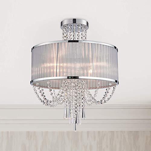 Bestier Modern Chrom Kristall Regentropfen Trommel Kronleuchter Beleuchtung Unterputz LED Deckenleuchte Pendelleuchte für Esszimmer Badezimmer Schlafzimmer Wohnzimmer 4 E14 LED-Lampen Erforderlicher