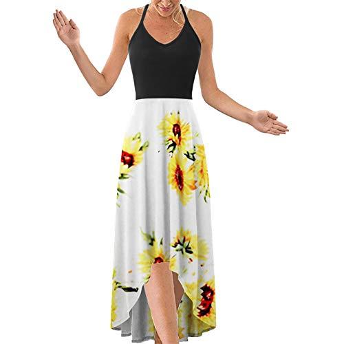 yazidan Damen Halter-Ansatz mit Tiefem V Asymmetrisches Blumenkleid Ärmellos Elegant Maxikleider Sommerkleider Partykleid Strandkleid Camisole Kleider