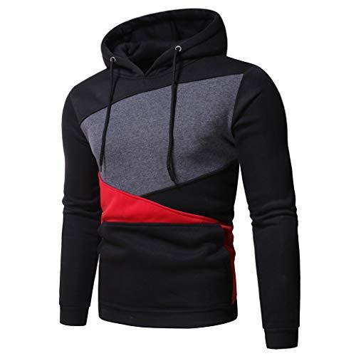 Hoodie Sweatshirt Top T-Shirt Outwear Bluse Männer Herbst Langarm Patchwork Hooded (XL,4Grau)