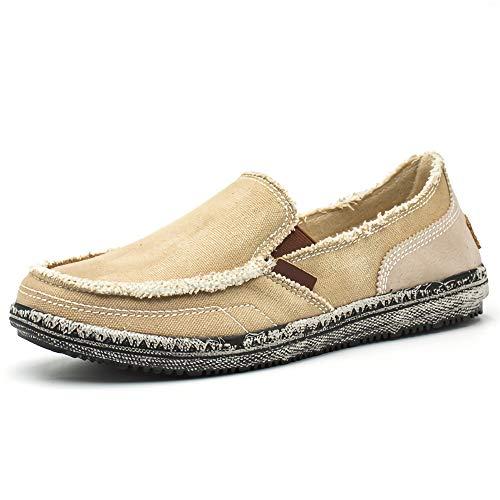 Canvas herenschoenen lage ademende instappers Vintage instappers lichtgewicht lichtgewicht espadrilles Comfortabele wandelschoenen,Khaki,42EU