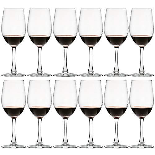 340 ml – Set di 12 bicchieri da vino classici rossi e bianchi, resistenti per casa, feste, regali per compleanni, anniversari, matrimoni – trasparenti