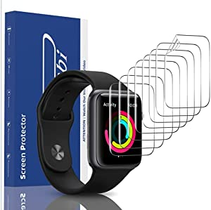 [8 Pack] Panawabi Screen Protector Compatible for Apple Watch Series 6/SE/5/4 40MM Series 3/2/1 38MM, Max Coverage,Flexible TPU Film for iWatch 40MM/38MM