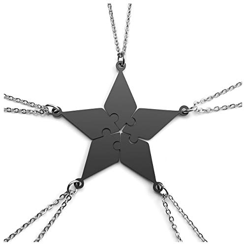 jovivi friends necklace for 2 silvers Jovivi Personalized Custom Best Friend Friendship Necklaces for 5,Stainless Steel Pentagram Puzzle Piece Pendant,Family Sisters BBF