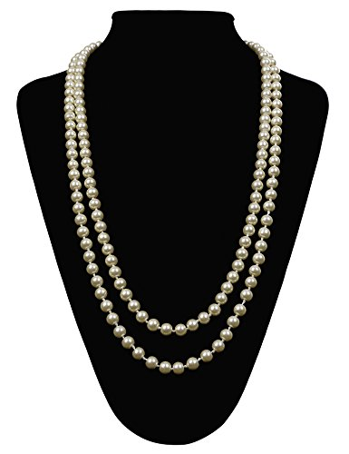 Great Gatsby Faux Pearls Flapper Beads Cluster Long 1920s Necklace 59''(White)