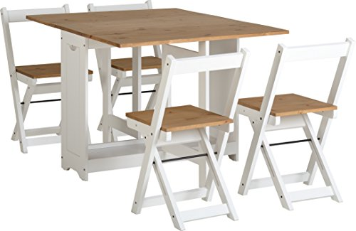 White & Pine Butterfly Drop Leaf Foldaway Dining Set with 4 Foldaway chairs.