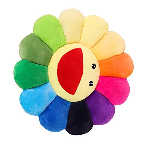 Richolyn Peluche Girasole Grande Cuscino Girasole Colorato Cuscini Morbidi Kawaii Murakami Takashi Flower Cuscino di Fiori Fiore Murakami Cuscino Fiore per Arredamento Camera da Letto Domestica 42 Cm