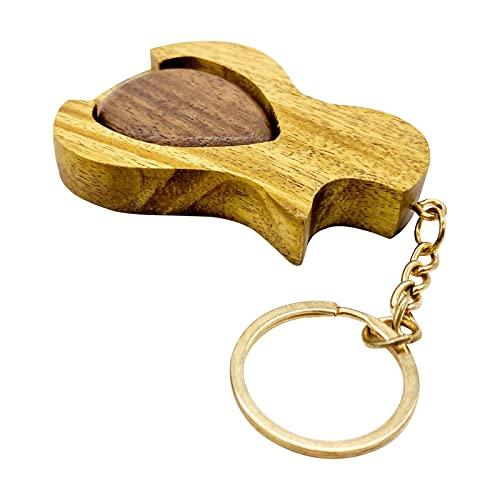 Gitarren Plektrum, 2-in-1 Kreativer Schlüsselanhänger Holz-Plektren-Zubehör Für E-Gitarre, Akustikgitarre, Bassgitarre
