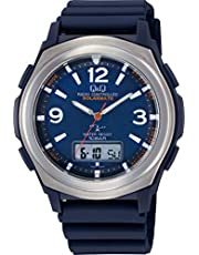 [シチズン Q&Q] 腕時計 アナログ 電波 ソーラー 防水 日付 曜日 表示 ラバーベルト ブルー MD18-305 メンズ ブラック