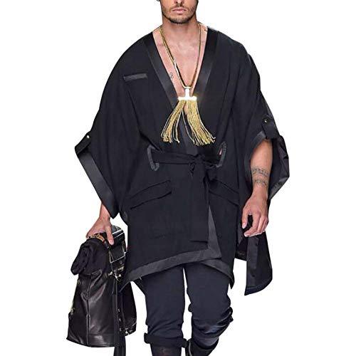 keepmore Herren Poncho Umhang unregelmäßig lose Hoodie Pullover Umhang Lange Fledermaus Ärmel übergroßen Mantel