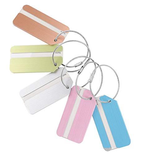 Etichetta per il bagaglio - 5 pezzi di carta d'identità in alluminio in lega di metallo per bagagli, etichetta per valigie, indirizzo per i viaggi, perfetta per individuare rapidamente la valigia dei