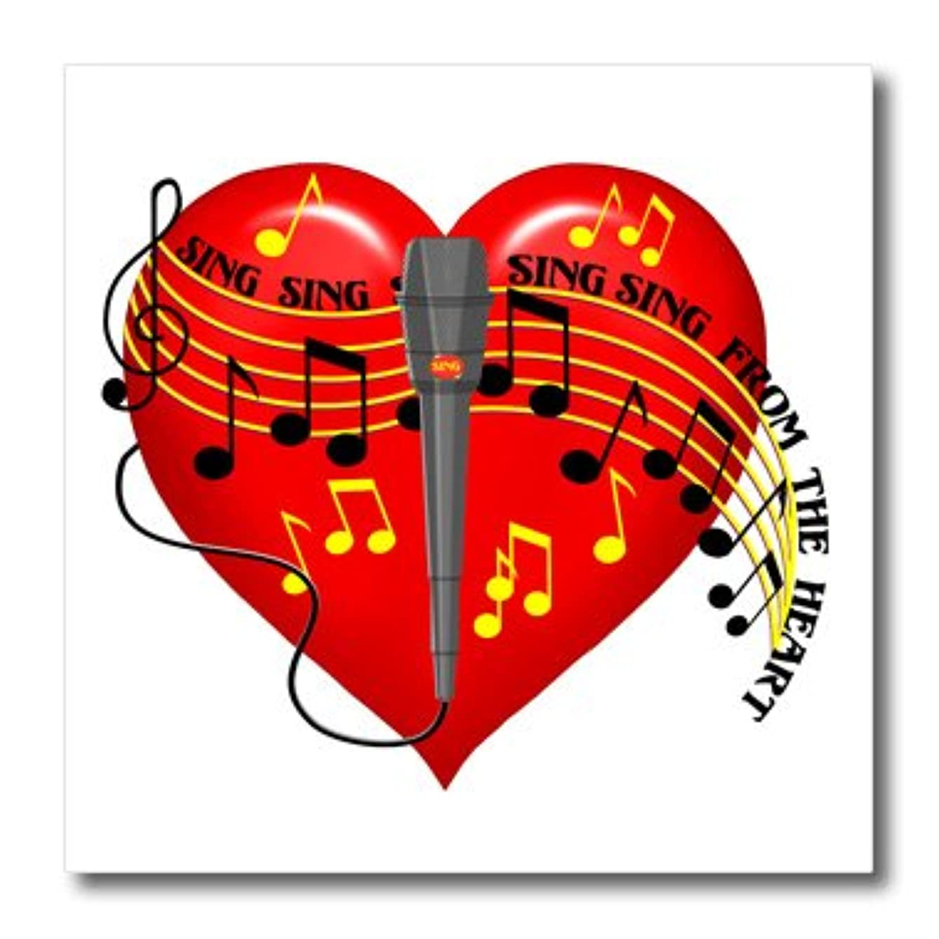 3dRose Large red, Musical Notes, Microphone, Sing from The Heart Text, Light Background-Iron On Heat Transfer, 8 by 8-inch, for White Material (ht_11618_1)