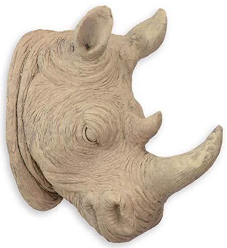 Casa Padrino Escultura de decoración de Pared de Resina sintética Cabeza de Rinoceronte Beige 23 x A. 40,5 cm - Figura Decorativa - Figura Animal - Decoración Salón
