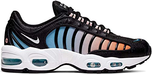 Nike Women's Air Max Tailwind 4 Casual Shoes (7, Black/Coral Stardust/Light Blue/White)