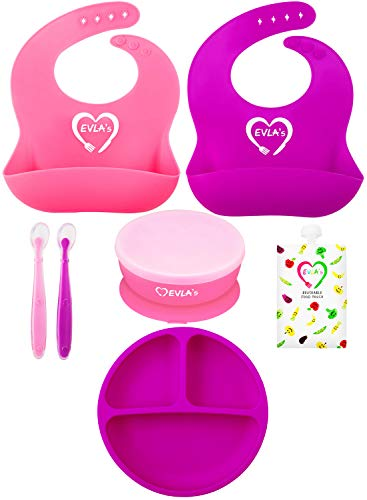 Baby Feeding Set | Silicone Bib Plates Bowls Spoons | Divided Plate Suction Bowl & Soft Spoon Aids Self Feeding | Adjustable Bib Easily Wipe Clean | Spend Less Time Cleaning Up After Toddler/Babies