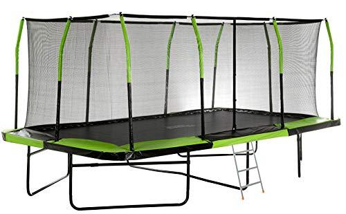 Mega Outdoor Trampoline with Fiber Flex Enclosure System, 8' X 14'   Big Trampoline for Kids   Rectangular Adult Trampoline   Safe & Fun Great Exercise Trampoline   Bonus 3-Step Ladder