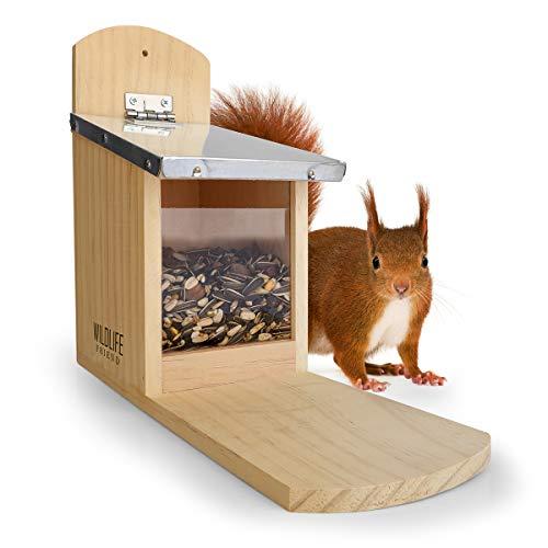 Wildlife Friend   Eichhörnchen Futterhaus aus Kiefernholz & Zink-Dach, wetterfest, unbehandelt, Futterstation Eichhörnchenhaus zum Eichhörnchen füttern, Eichhörnchenfutterhaus