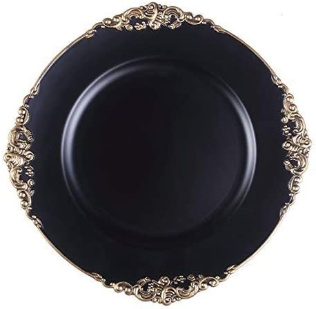 Tiger Chef Antique Charger Plates Black Plate Chargers for Dinner Plates Set of 6 Dinner Chargers product image