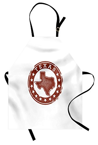 Lunarable Texas Apron, Classical Rubber Stamp of Western Cowboy Country State Map Stars Dallas Houston, Unisex Kitchen Bib Apron with Adjustable Neck for Cooking Baking Gardening, Cinnamon White