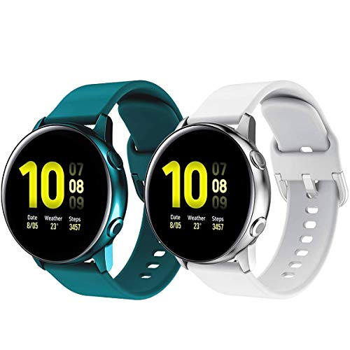 Galaxy Watch 3 41mm Bands - 20mm Silicone Sport Replacement Breathable Wristbands Strap Compatible for Galaxy Watch Active/Active2 (40mm)(44mm)/Gear S2 Classic/Gear Sport Smart Watch (2 Pack)