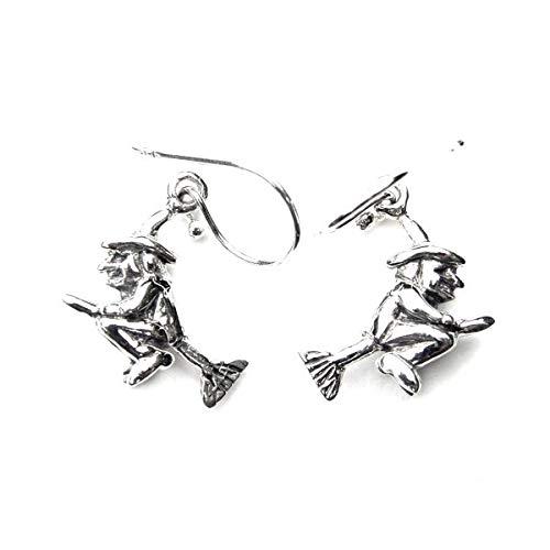 Ashton and Finch Pendientes de bruja voladora de plata de ley | Pendientes para mujer | Joyería para niñas y mujeres | Para cumpleaños, bodas y ocasiones especiales
