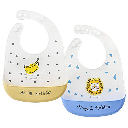 YZCX 2 Piezas Baberos Bebe Bandanas Impermeable Babero de Bebé del Silicona con 6 botones ajustable, Bebés Baberos Drool Super Suave y Limpie Fácilmente Sin BPA para Niños Niñas de 6 meses a 4 años