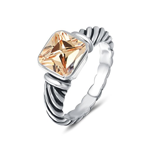 UNY Ring Antique Twisted Cable Wire Femme Designer Inspired Fashion Brand David Women Jewelry Gifts (Champange, 8)