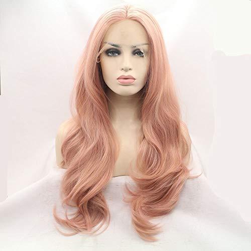 Mode Rose grande vague de haute température chimique Fibre Silk Lace Front perruque Easy Care (26 pouces) Perruques Femme XXYHYQHJD