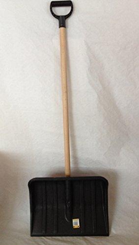 Schneeschaufel Schneeschieber OHNE Metallkante und stabilem Holzstiel mit D-Griff, Länge ca. 1,20m, Breite Blatt 46 cm