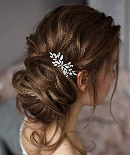 Unicra Silver Bride Wedding Hair Comb Opal Crystal Headpiece Rhinestone Bridal Hair Combs Accessories for Women and Girls