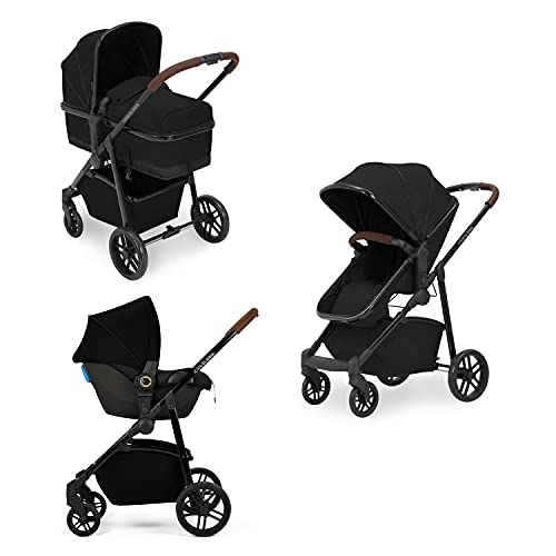 Ickle Bubba Moon 3-in-1 Travel System with Astral Car Seat | Bundle Includes Pushchair, Car Seat (Black with Tan Handles)