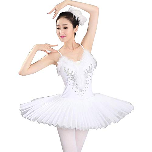 Agoky Girls Ballerina Swan Lake Outfit Sequins Faux Fur Ballet Dance Tutu Dress with Fingerless Gloves and Hair Clip Set