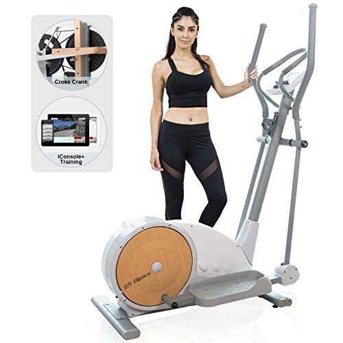SNODE Elliptical Machine E25 - Crossfit Exercise Equipment for Home use with 32 Magnetic Resistance, 12 Programs, LCD Digital Monitoring, Intelligent Fitness App Via Bluetooth, Large Pedals (White)