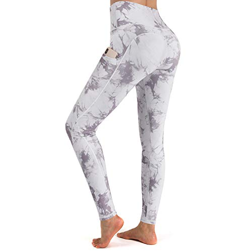 """G4Free Printed Yoga Leggings with Pockets for Women Workout Pants Breathable Running Tights Non See-Through 26"""" Inseam (Light Grey Tie Dye, M)"""
