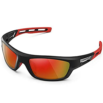 TOREGE Polarized Sports Sunglasses for Man Women Cycling Running Fishing Golf TR90 Unbreakable Frame TR07 Steath Man (Black&Red&Rainbow Lens)