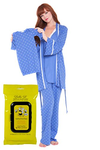 Olian Bundle:2 Items Maternity Nursing Ditzy PJ Set & Bella B Breastwipes Blue XL