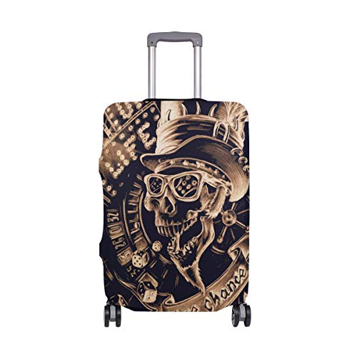Moyyo Halloween Golden Skull Travel Luggage Cover Suitcase Protector Cover Elastic Washable Suitcase Cover Fits 29-32 inch Luggage