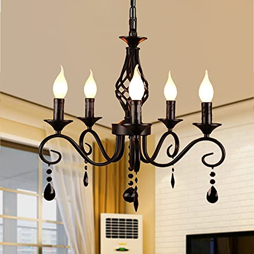 Candelabros de estilo francés de Ganeed, candelabro de cristal negro con 5 luces, lámpara colgante industrial vintage, luz colgante...