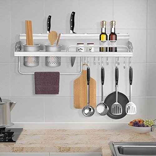 iKINLO 60CM Küchenregal aus Aluminium Küchenablage Multifunktionales Gewürzhalter Lagerregal Pfannenhalter Wand Organizer Gewürzregal mit 10 Haken und 3 Getränkehalter für Küche Badezimmer Silber
