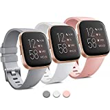 Pack 3 Silicone Bands for Fitbit Versa 2 & Fitbit Versa & Versa Lite & Versa SE, Replacement Wristbands for Women Men Small Large (Large: for 7.1''-8.7''Wrists, Grey+White+Peach)