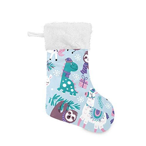 DXG1 Calcetín de Navidad con diseño de Dinosaurio de Alpaca para el Invierno, Personalizable, Bolsa de Regalo para la Familia, día Festivo, Navidad, decoración de Fiesta, Multicolor, 1 Unidad