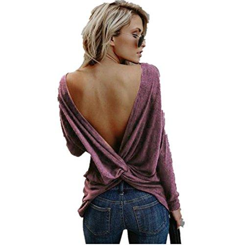 Kolylong® Sweatshirt Damen Frauen Elegant Rückenfreie Langarm Bluse Herbst Winter Warm Langarmshirts Rundhals Pullover Sweater Pulli T-Shirt Tops Oberteile (Weinrot, M)