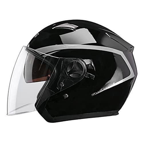 Casco Modural,Casco de Moto Abierto con Doble Visera,HD Antivaho,Material Plástico ABS,Con Protectores Para Los Oídos Extraíbles,Circunferencia de La Cabeza 56cm-60cm para Motocicleta Scooter