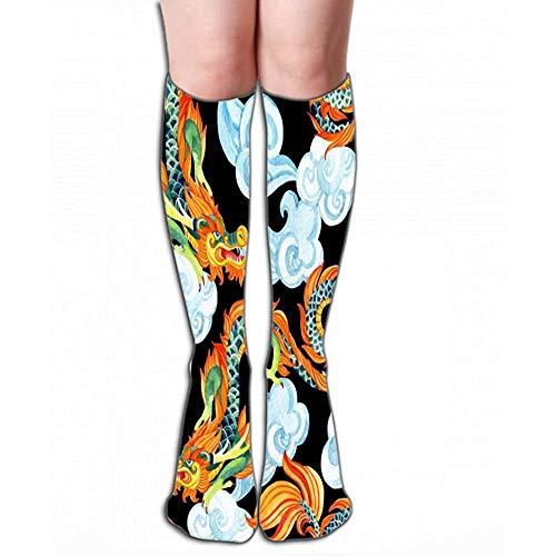 NGMADOIAN Hohe Socken Strumpf chinesischer Drache asiatischer Drache traditionelles Symbol Aquarell handgemalte Gemälde Fliesenlänge 50 cm